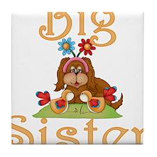 Big Sister Fluffy Pup 6 Tile Coaster