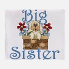 Big Sister Fluffy Pup 3 Throw Blanket