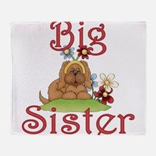 Big Sister Fluffy Pup 1 Throw Blanket