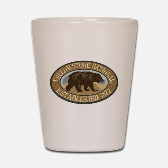 Yellowstone Brown Bear Badge Shot Glass