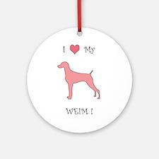 Love My Weim Pink Ornament (Round)