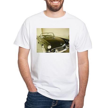 Black 1955 Ford Thunderbird White T-Shirt