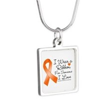 Ribbon Someone I Love MS Silver Square Necklace
