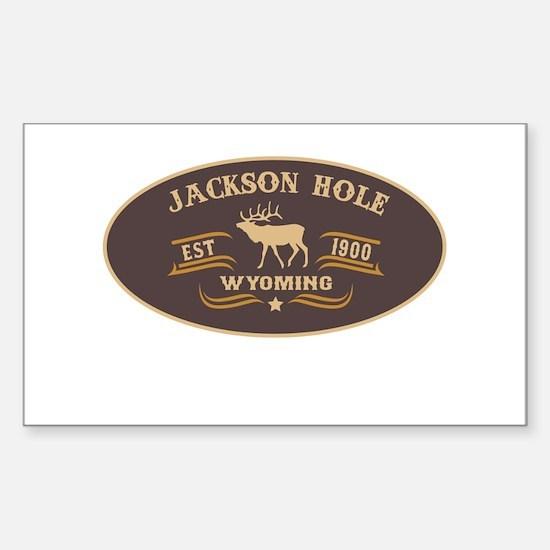Jackson Hole Belt Buckle Badge Sticker (Rectangle)