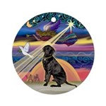 Xmas Star & Black Lab Ornament (Round)