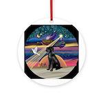 Xmas Star & Giant Schnauzer (Bl) Ornament (Rou
