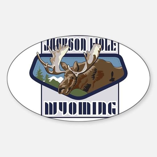 Jackson Hole Mountaintop Moose Sticker (Oval)