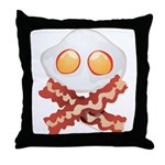 Skull and Bacon Throw Pillow