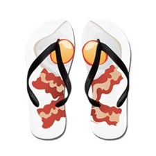 Skull and Bacon Flip Flops