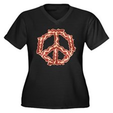 Peace with Bacon Women's Plus Size V-Neck Dark T-S