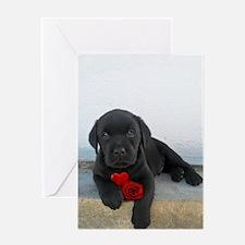 Valentines Labrador Puppy Greeting Card