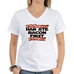 Han Ate Bacon First Women's V-Neck T-Shirt