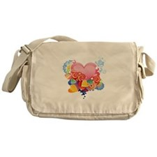 Retro heart love Messenger Bag