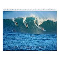 Waimea Bay Hawaii Big Winter Surf Wall Calendar
