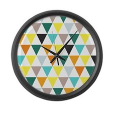 Multi-Colored Triangles Large Wall Clock
