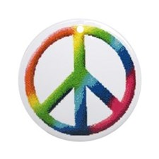 Rainbow Peace Sign Ornament (Round)