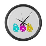 CMY Penguins Large Wall Clock