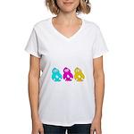 CMY Penguins Women's V-Neck T-Shirt