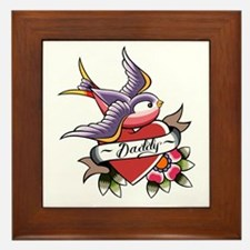 Tattoo heart daddy Framed Tile