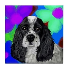 parti cocker spaniel Tile Coaster