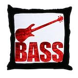 Bass guitar music Throw Pillows