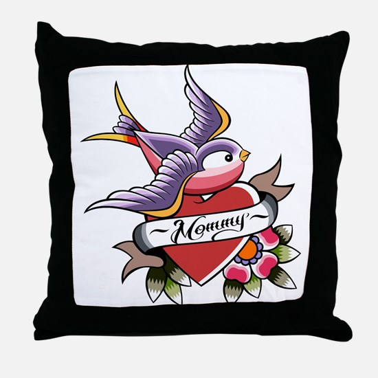 Tattoo heart mommy Throw Pillow