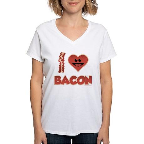 I Love Bacon Women's V-Neck T-Shirt