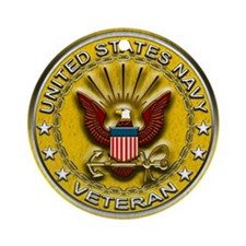 US Navy Veteran Gold Chained Ornament (Round)