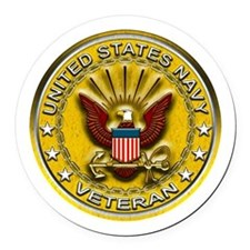 US Navy Veteran Gold Chained Round Car Magnet