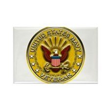 US Navy Veteran Gold Chained Rectangle Magnet (100