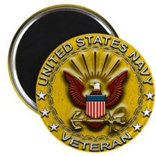 """US Navy Veteran Gold Chained 2.25"""" Magnet (100 pac"""