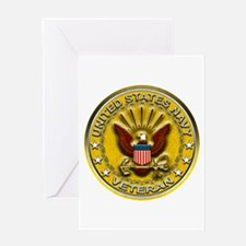 US Navy Veteran Gold Chained Greeting Card