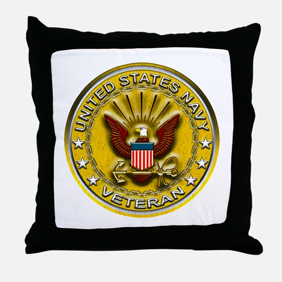US Navy Veteran Gold Chained Throw Pillow