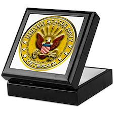 US Navy Veteran Gold Chained Keepsake Box