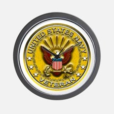 US Navy Veteran Gold Chained Wall Clock