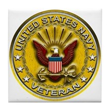 US Navy Veteran Gold Chained Tile Coaster