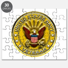 US Navy Veteran Gold Chained Puzzle