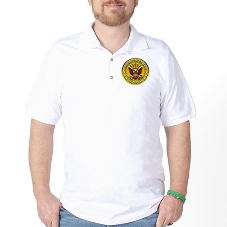 US Navy Veteran Gold Chained Golf Shirt