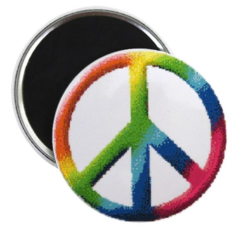 """Rainbow Peace Sign 2.25"""" Magnet (100 pack)"""