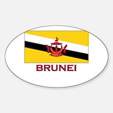 Brunei Flag Gear Oval Decal