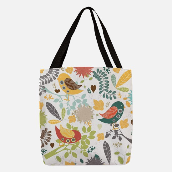 Woodland Birds Polyester Tote Bag