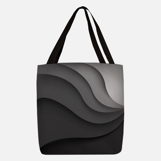 Black Abstract Polyester Tote Bag