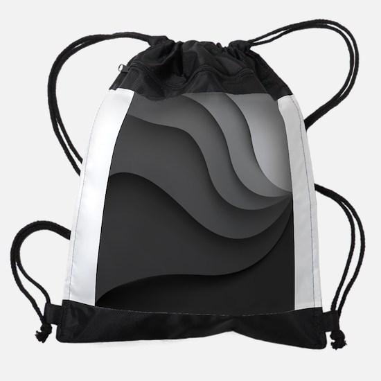 Black Abstract Drawstring Bag