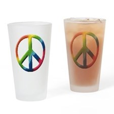 Rainbow Peace Sign Drinking Glass