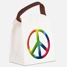 Rainbow Peace Sign Canvas Lunch Bag