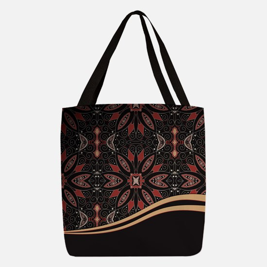 Abstract Floral Polyester Tote Bag