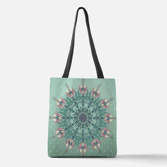 Vintage Floral Polyester Tote Bag
