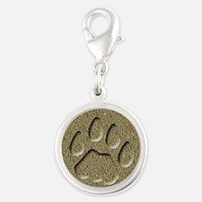 Cougar Mountain Lion Puma Tracks Silver Round Char