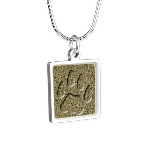 Cougar Mountain Lion Puma Tracks Silver Square Nec
