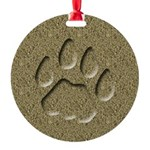 Cougar Mountain Lion Puma Tracks Round Ornament